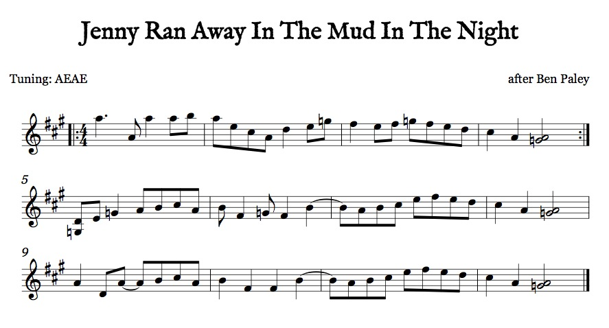 Jenny Ran Away In The Mud In The Night Old Time AEAE Sheet Music Dots